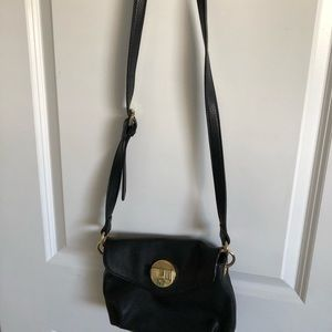 Black with gold accent crossbody purse